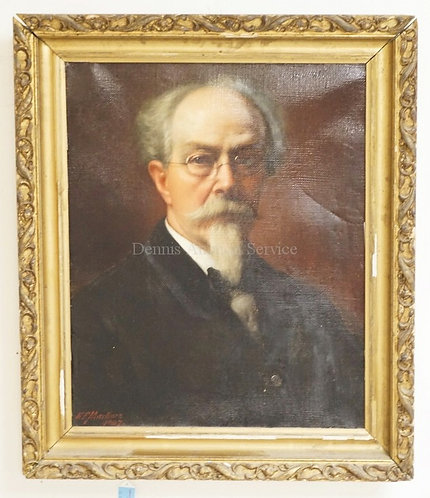 1006_ANTIQUE PORTRAIT OIL PAINTING ON CANVAS OF A MAN WITH A GREY BEARD AND GLAS