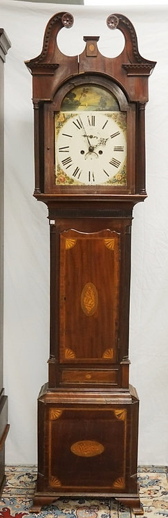 ANTIQUE MAHOGANY TALL CASE CLOCK WITH SHELL AND FAN INLAY. FLUTED QUARTER AND FU