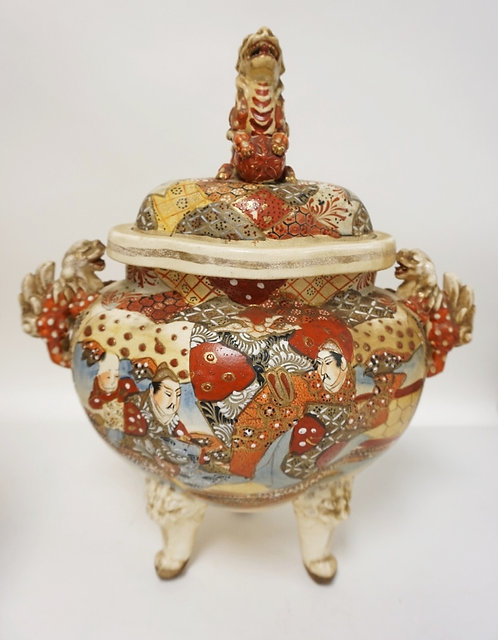 SATSUMA COVERED JAR WITH FOO DOG HANDLES AND FINIAL. 16 1/2 INCHES HIGH.