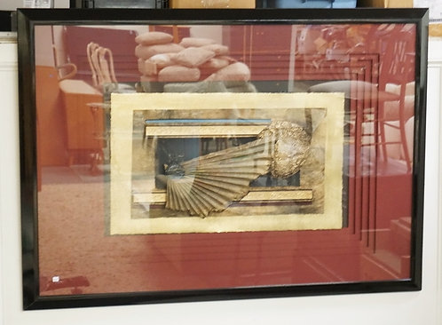 LARGE CONTEMPORARY ART. A SCULPTED SCENE IN A DEEP MULTIPLE MATTING. 62 1/2 X 44