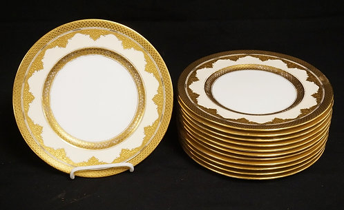 SET OF 12 COALPORT PLATES WITH ORNATE GOLD DECORATION. TIFFANY & CO RETAILERS ST