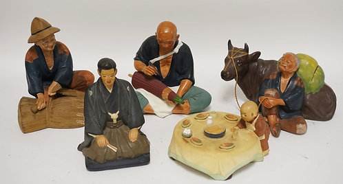 GROUP OF 5 HAKATA URASAKI CERAMIC DOLLS. TALLEST IS 8 1/2 INCHES HIGH. ONE WITH
