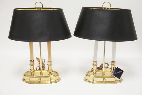 1131-PAIR OF REMINGTON BRASS LAMPS  18 1/2 INCHES HIGH