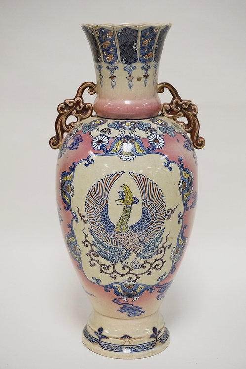 ASIAN CERAMIC VASE DECORATED WITH PHOENIX 18 1/4 INCHES HIGH. CHARACTER MARKED.