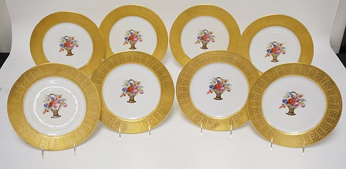 SET OF 8 FRENCH LIMOGES PORCELAIN PLATES WITH TRANSFER DECORATION OF FLOWER BASK