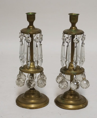 PAIR OF ANTIQUE BRASS LUSTRES WITH CUT GLASS PRISMS AND SINCE CANDLE CUPS. 9 3/4