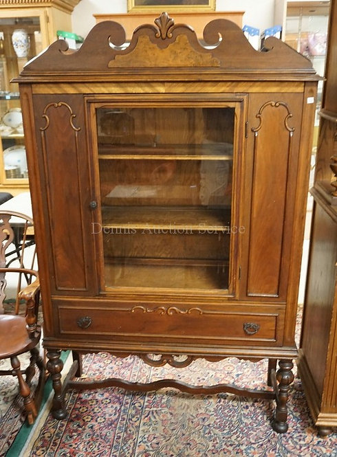 DEPRESSION CHINA CABINET WITHBOOK MATCHED AND BURLED VENEERS.
