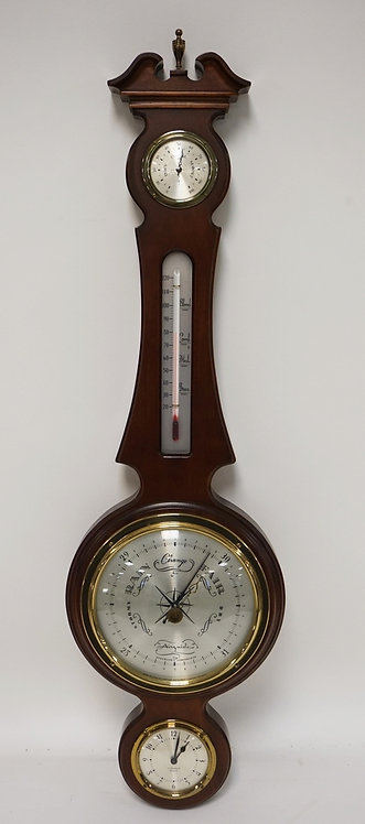 MAHOGANY HANGING WEATHER STATION. 31 1/2 INCHES LONG.