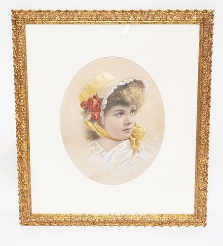 ANTIQUE PORTRAIT PRINT WITH HAND PAINTED WATERCOLOR ENHANCEMENTS OF A YOUNG GIRL