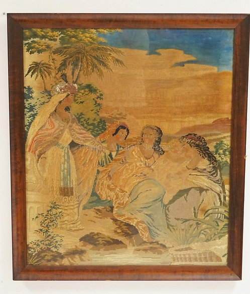 ANTIQUE NEEDLEWORK IMAGE OF FOUR WOMEN AND A CHILD. EACH WOMAN HAVING A HEADDRES