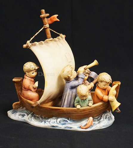 HUMMEL #530 *LAND IN SIGHT* PORCELAIN FIGURAL GROUP MEASURING 9 1/4 INCHES HIGH.
