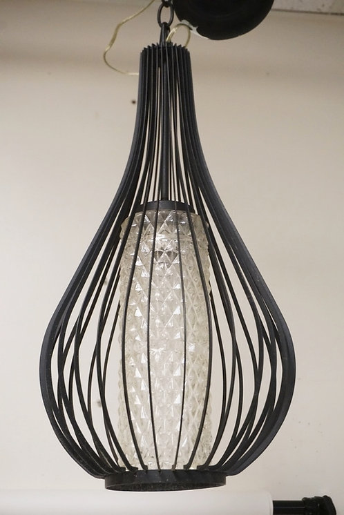 MID CENTURY MODERN HANGING LIGHT FIXTURE WITH A CYLINDRICAL GLASS CENTER. 21 INC