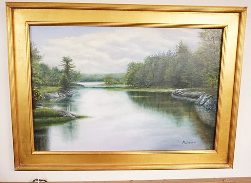 OIL PAINTING ON CANVAS OF A LUSH AND SERENE LAKE IN MAINE WITH ROCKY SHORELINES
