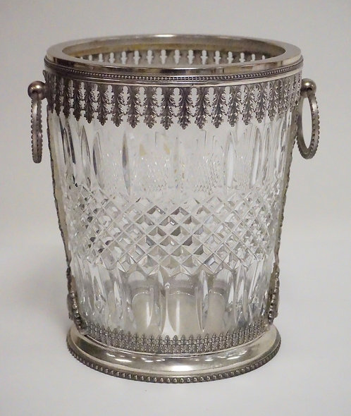 ITALIAN SILVER PLATED AND CRYSTAL ICE BUCKET. 9 INCHES HIGH.