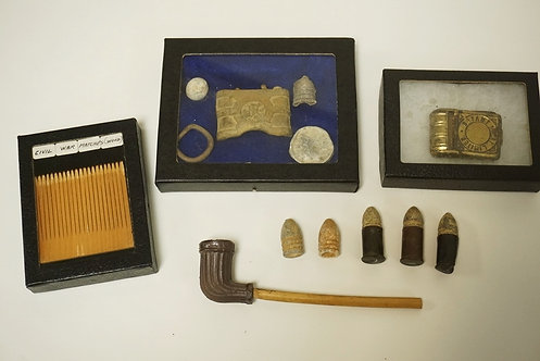 GROUPING OF CIVIL WAR ERA ARTIFACTS. INCLUDES A CLAY PIPE, A SET OF WOODEN MATCH
