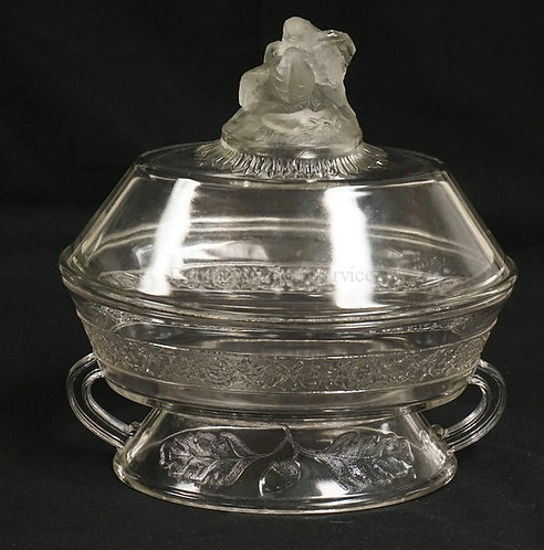 LARGE ANTIQUE EAPG COVERED COMPOTE. GILLINDA FROSTED FLOWER BAND WITH FROSTED LO