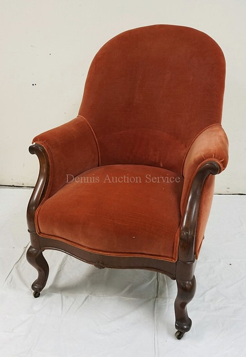VICTORIAN WALNUT UPHOLSTERED CHAIR.