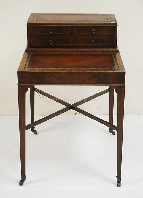 MAHOGANY STEP UP SIDE TABLE WITH LEATHER TOPS AND ONE DRAWER. 30 INCHES HIGH. 20