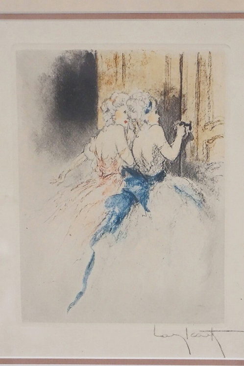 ORIGINAL LOUIS ICART ETCHING. SIGNED LOWER RIGHT. 5 3/4 X 7 1/2 INCH IMPRESSION.