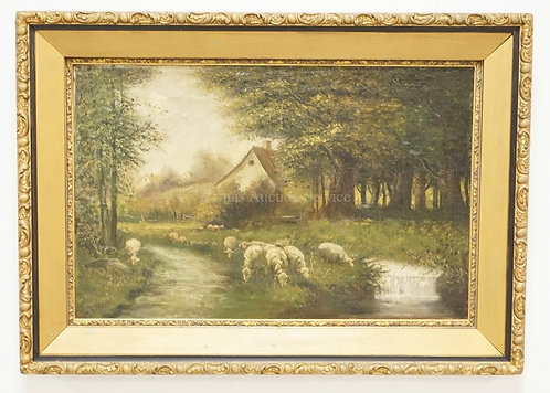 1002_EUROPEAN OIL PAINTING ON CANVAS OF SHEEP GRAZING BY A STREAM WITH A COTTAGE