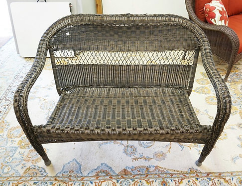 FAUX WICKER SETTEE MEASURING 49 INCHES LONG.