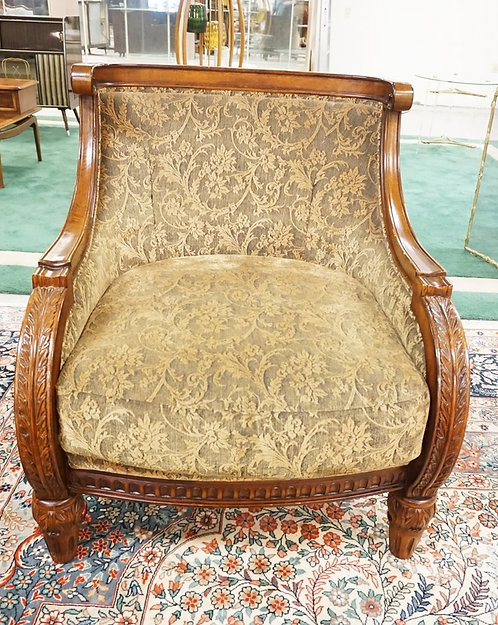 CARVED, UPHOLSTERED ARM CHAIR WITH MATCHING OTTOMAN. 32 IN WIDE, 36 1/2 IN H