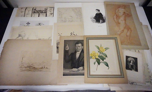 VERY LARGE LOT OF APPROX 37 PIECE LOT OF ANTIQUE ARTWORK INCLDUING SKETCHES, DRA