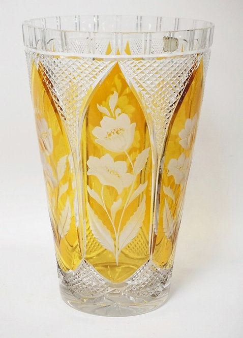 LARGE & HEAVY CUT CRYSTAL VASE HAVING AMBER STAINED PANELS CUT TO CLEAR WITH WEL