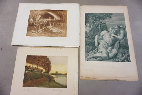 GROUP OF 3 ENGRAVINGS. LARGEST 11 IN X 16 1/2 IN