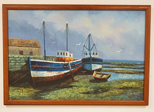 K. HARRISON OIL PAINTING ON CANVAS OF DOCKED TUGBOATS. SIGNED LOWER RIGHT. 35 1/
