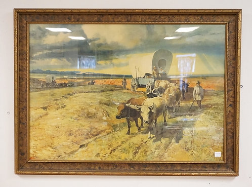 LARGE PRINT OF A COVERED WAGON BEING PULLED BY COWS. 46 X 33 1/2 INCH FRAME.