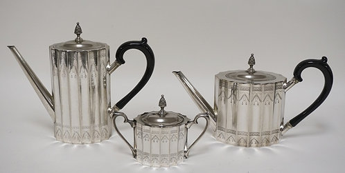 3 PIECES OF GODINGER SILVERPLATE. A TEAPOT, COFFEE POT, AND A SUGAR BOWL. TALLES
