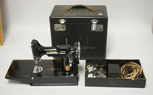 SINGER FEATHERWEIGHT SEWING MACHINE WITH CASE, FOOT PEDAL, AND SOME ATTACHMENTS.