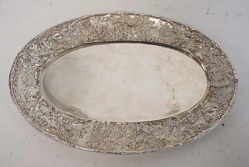 DUTCH SILVER PLATED TRAY WITH A RELIEF DECORATED BORDER.