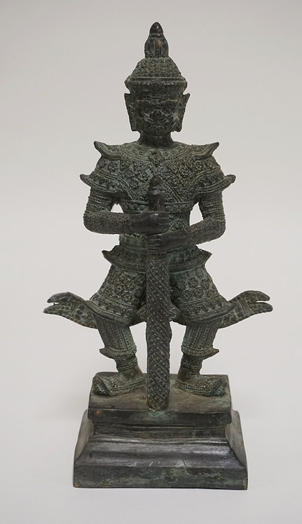 ASIAN BRONZE FIGURE OF A WARRIOR WITH A SWORD. 11 1/2 INCHES HIGH.