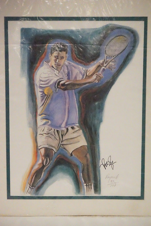 PETE SAMPRAS AUTOGRAPHED PRINT BY RAYMOND WARSAGER. PENCIL SIGNED LIMITED EDITIO