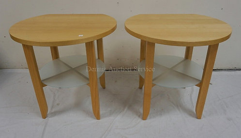 PAIR OF MODERN BLONDE SIDE TABLES WITH FROSTED GLASS SHELVES BENEATH. 22 IN X 24