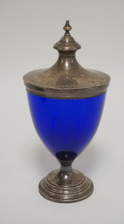 WM. WISE & SON STERLING SILVER AND COBALT BLUE BOLTED URN. STERLING LID, RIM, AN