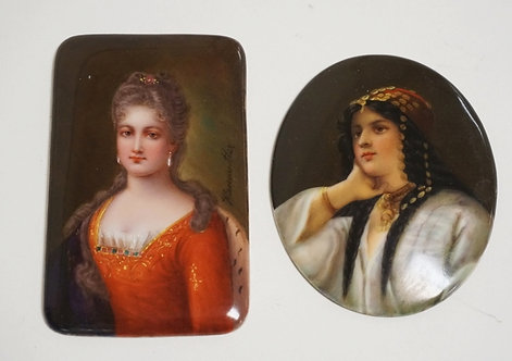 1169_2 MINIATURE PORTRAITS ON PORCELAIN. THE ONE IN THE RED DRESS IS ARTIST SIGN