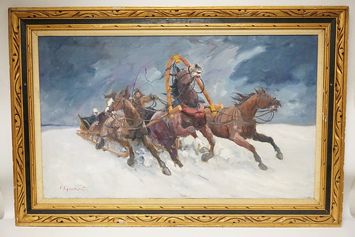 VLADIMIR LAZAREV OIL PAINTING ON CANVAS OF A HORSE DRAWN SLED IN THE SNOW. SIGNE