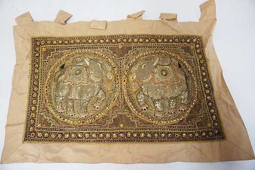 TRIPUNTO DECORATED TAPESTRY WITH METAL TREADING. 32 1/2 X 21 INCHES.
