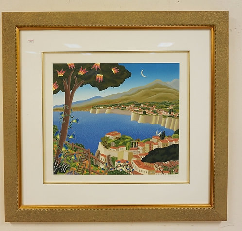 THOMAS MCKNIGHT PENCIL SIGNED PRINT OF A TROPICAL LANDSCAPE WITH THE MOON OVER T