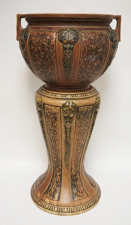 ROSEVILLE *FLORENTINE* ART POTTERY JARDINIERE AND PEDESTAL. 28 3/4 INCHES HIGH.