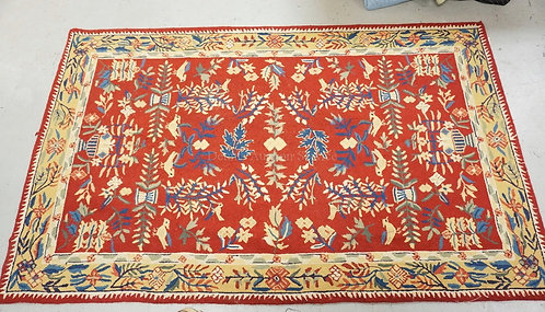ORIENTAL THROW RUG MEASURING 4 FT 10 INCHES X 7 FT 11 INCHES.