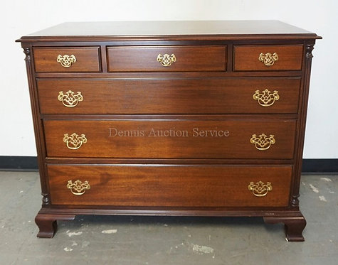 THOMASVILLE MAHOGANY CHEST OF DRAWERS. 3 OVER 3 WITH FLUTED QUARTER COLUMNS AND