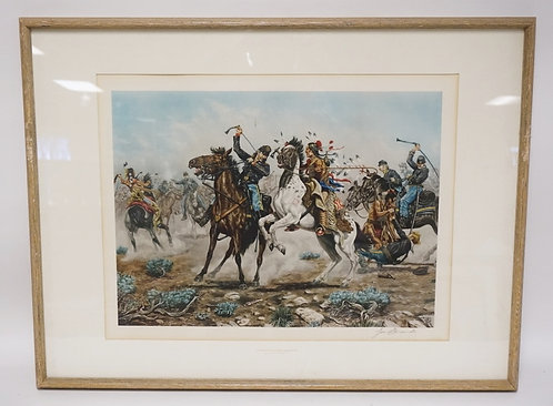 PENCIL SIGNED JOE RUIZ GRENDEE PRINT TITLED *DEATH TO LONG KNIVES*. 26 X 17 INCH