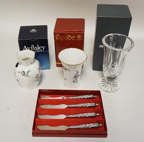 4 PIECE LOT INCLUDING A WATERFORD VASE, AYNSLEY VASE, SPODE VASE, AND A SET OF 4
