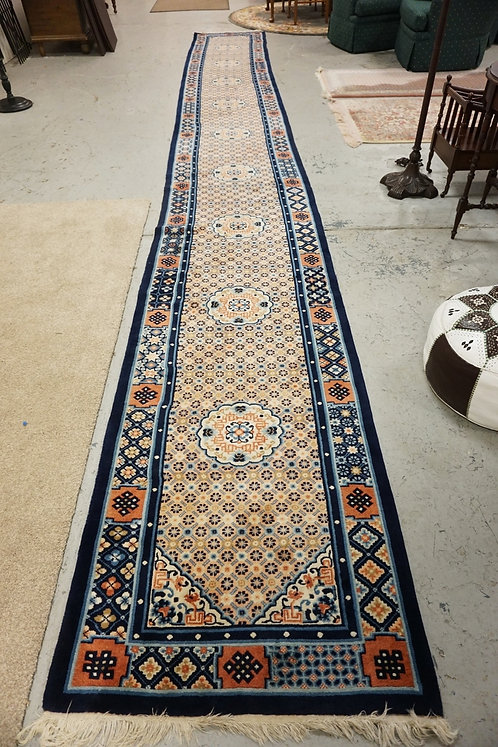 LONG CHINESE RUNNER IN PINK AND BLUE. 2 FT 8 IN X 21 FT 2 IN