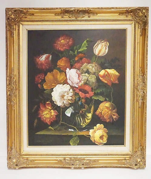 G. KANSETT STILL LIFE OIL PAINTING ON CANVAS OF FLOWERS. 19 1/2 X 23 1/2 INCH SI