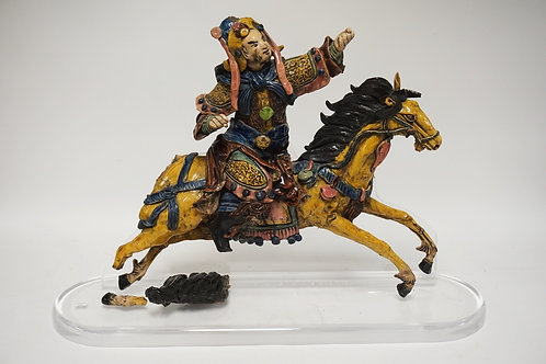 ASIAN POTTERY HORSE & RIDER MOUNTED TO A LUCITE BASE. SOME LOSSES. 20 INCHES HIG